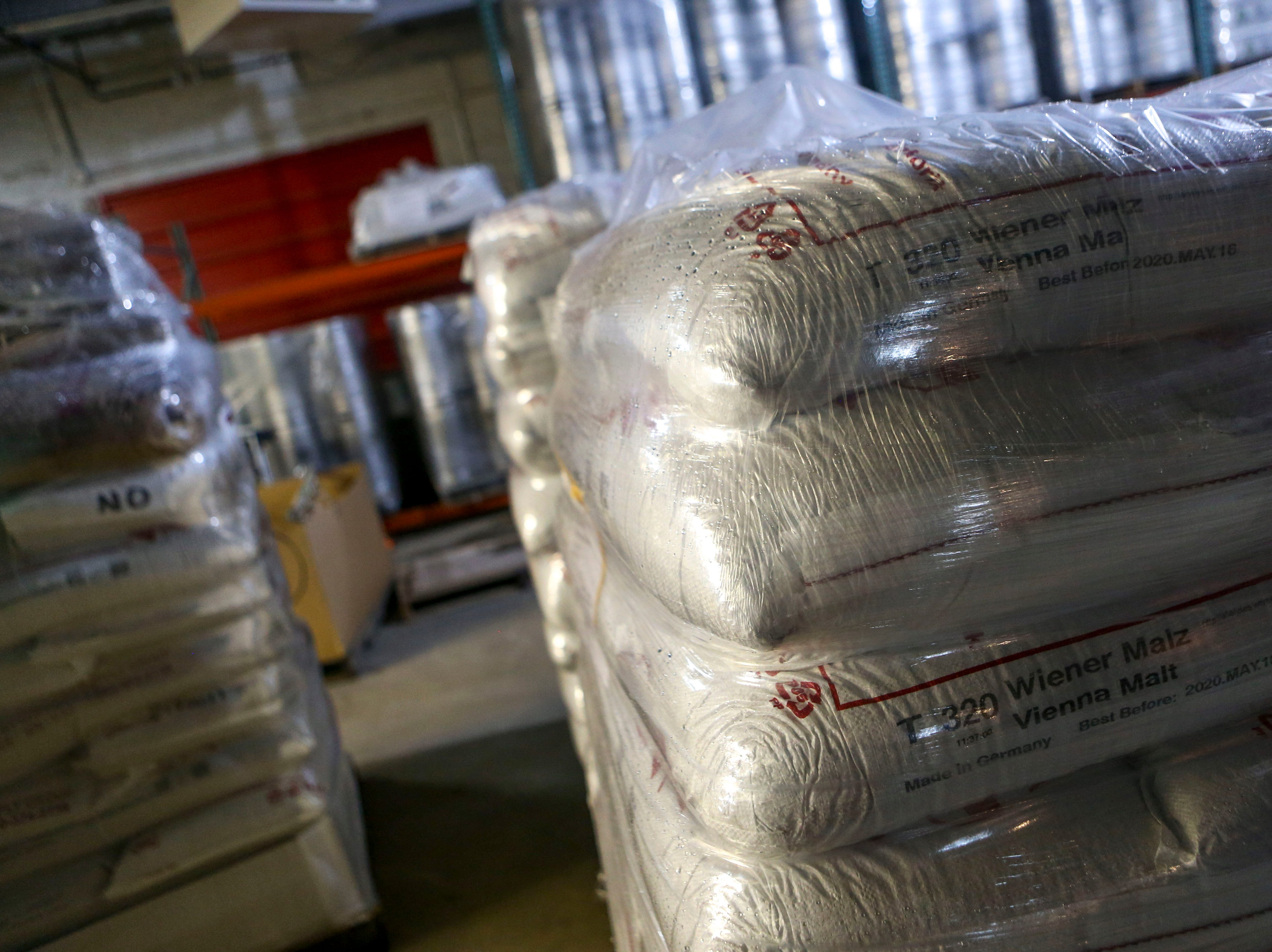 Malts can be seen in large bags ready for brewing in the backroom at Hub City Brewing in Jackson, Tenn., on Wednesday, Feb. 6, 2019.
