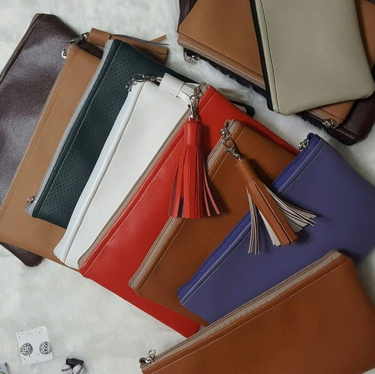 Enkeshi El-Amin extends her color choices to leather, which she buys locally at Tandy Leather Outlet.