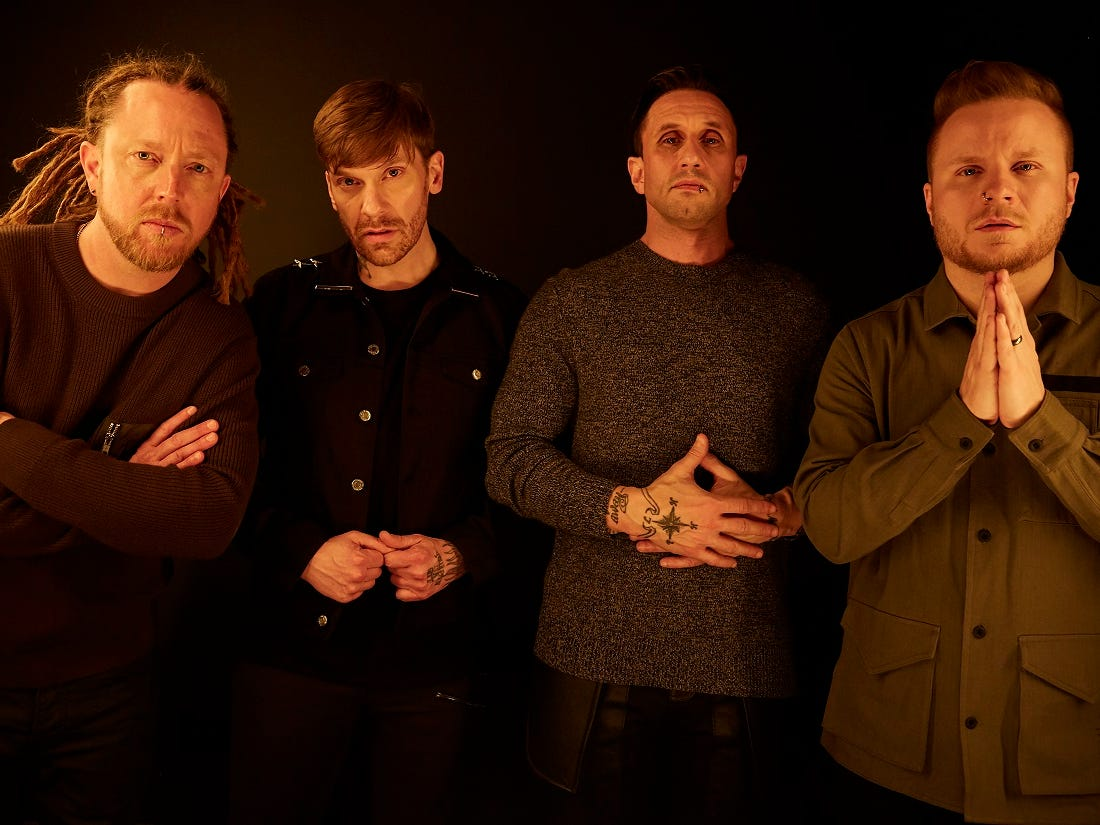 Shinedown members, from left, are Barry Kerch, Brent Smith, Eric Bass and Zach Myers.