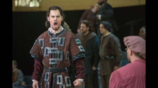 "David Crawford lets loose as Banquo in Verdi's ""Macbeth"" at Chautauqua Opera summer festival in Chautauqua, N.Y., 2015."