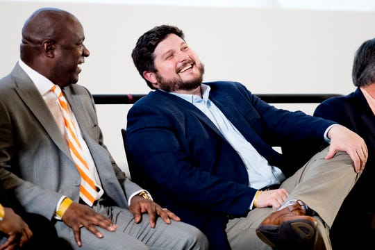 Tight ends coach Brian Niedermeyer laughs during a Tennessee signing day celebration at the UTK Student Union in Knoxville, Tennessee on Wednesday, February 6, 2019.