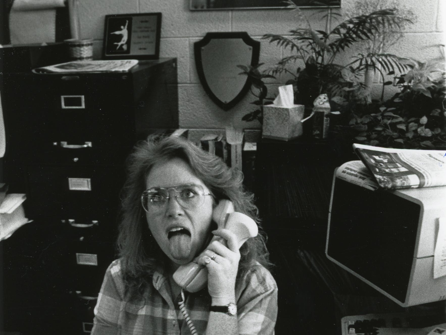 Donna Colburn, receptionist, in the mid 1980's.