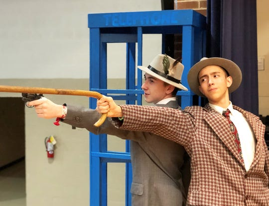 Hogan Wayland as Big Jule and Joshua Beeler as Nathan Detroit in Gibbs High School's production of Guys and Dolls.