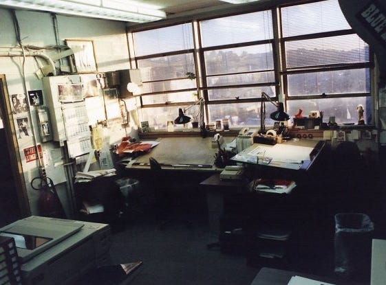 The Art Department of The Knoxville News Sentinel at 208 W. Church Ave., Knoxville, Tenn., 1989. There were a couple of old Macs, but they're out of the frame.