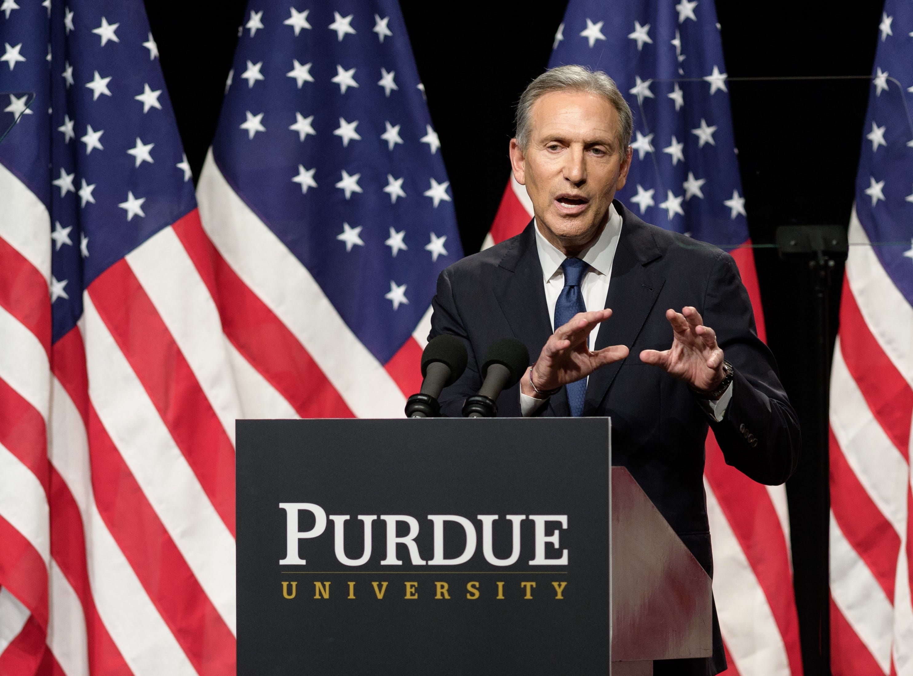 Howard Schultz spoke at Purdue on Thursday, Feb. 7, 2019.