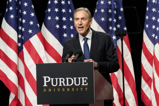 Howard Schultz, former Starbucks CEO, speaks Thursday in Fowler Hall in Purdue's Stewart Center. Schultz was at Purdue to talk about his potential bid to run for president in 2020 as an independent.