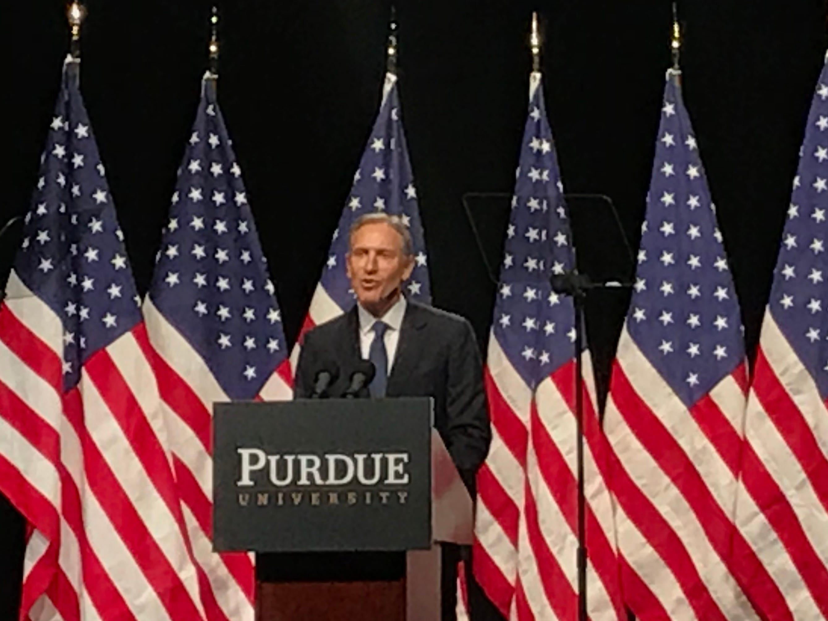 Former Starbucks CEO Howard Schultz spoke at Purdue on Thursday, February 7, 2019. Schultz confirmed that he was considering a presidential run in 2020 as an Independent and responded to criticism that he would siphon votes from Democrats.