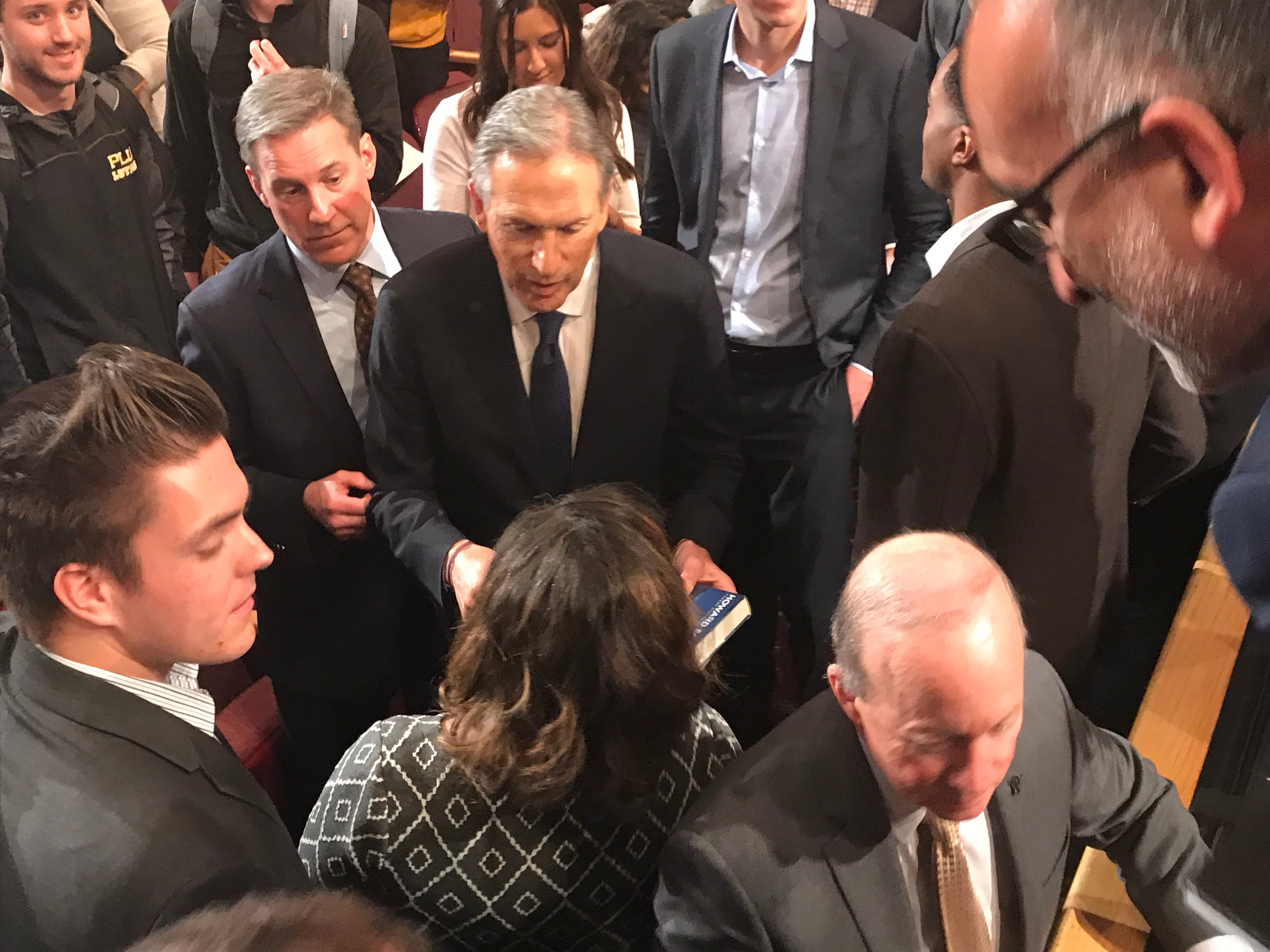 Howard Schultz, the former CEO of Starbucks who continues to consider an Independent run for President, appears at Purdue University on Thursday afternoon.