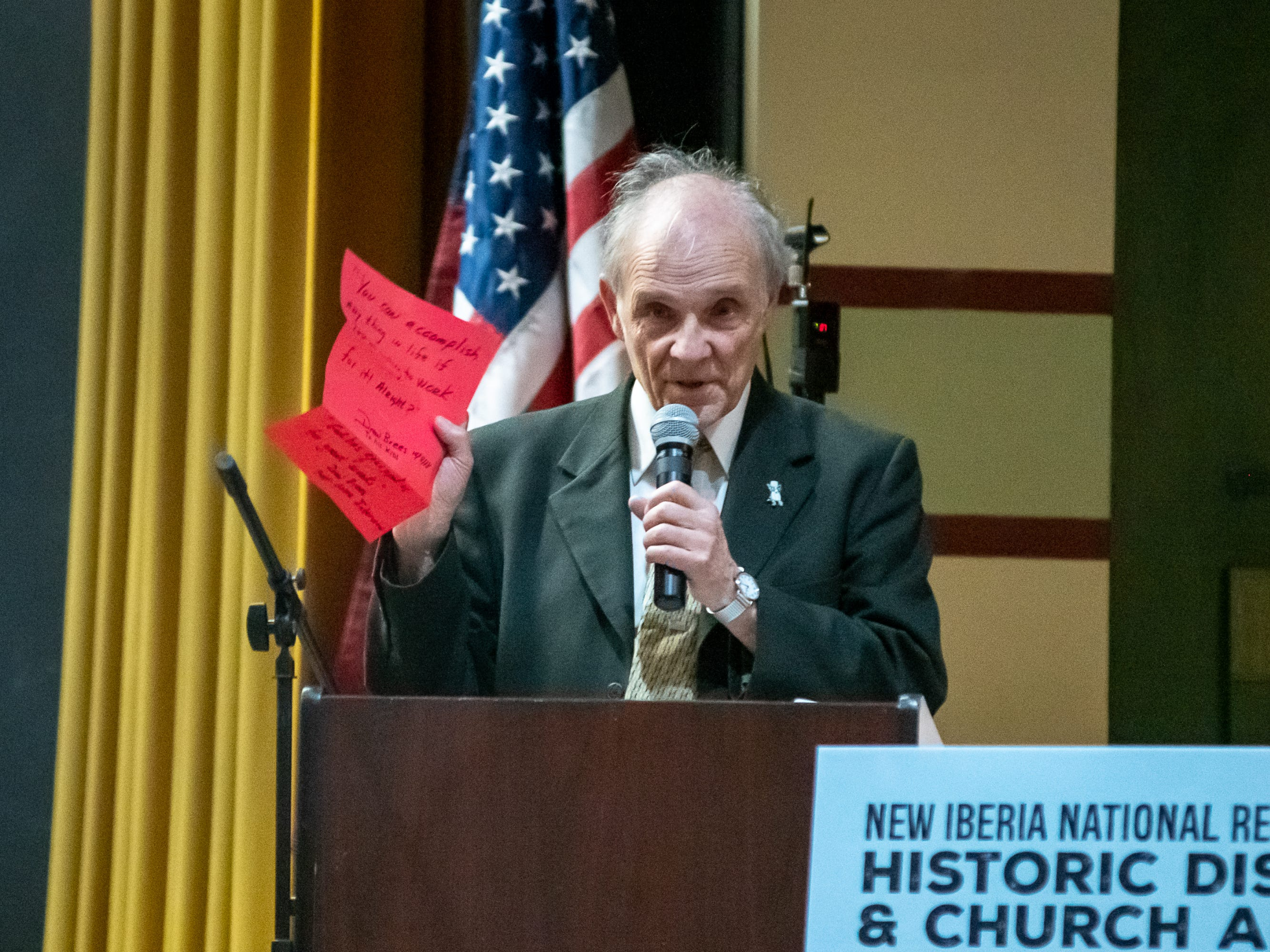 Doc Voorhies speaking at the ceremony to unveil the exhibit in the Doc Voorhies wing of the Bayou Teche Museum. Thursday, Feb. 7, 2019.