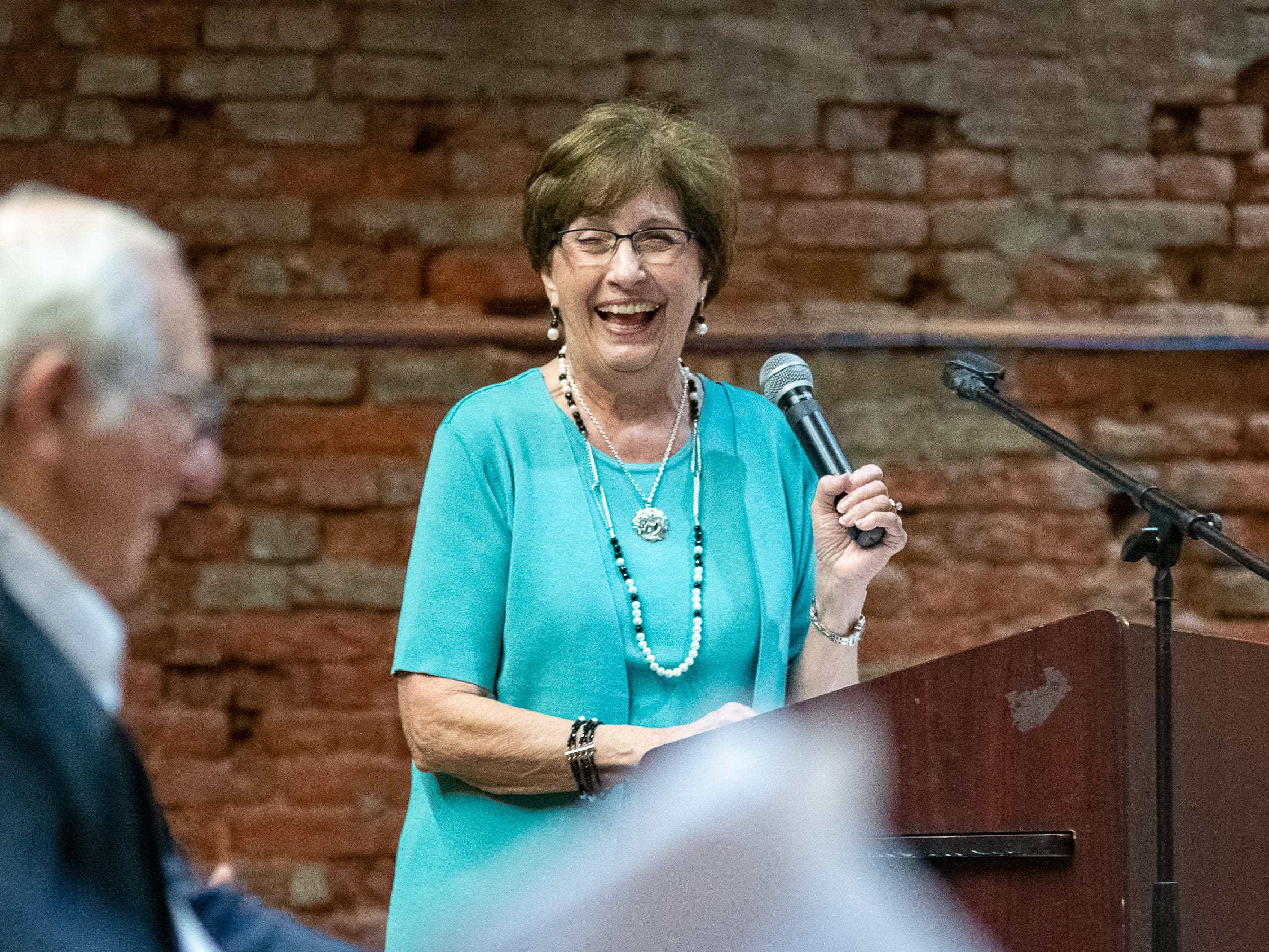 Gov. Kathleen Blanco speaking at the ceremony to unveil the exhibit in the Doc Voorhies wing of the Bayou Teche Museum. Thursday, Feb. 7, 2019.