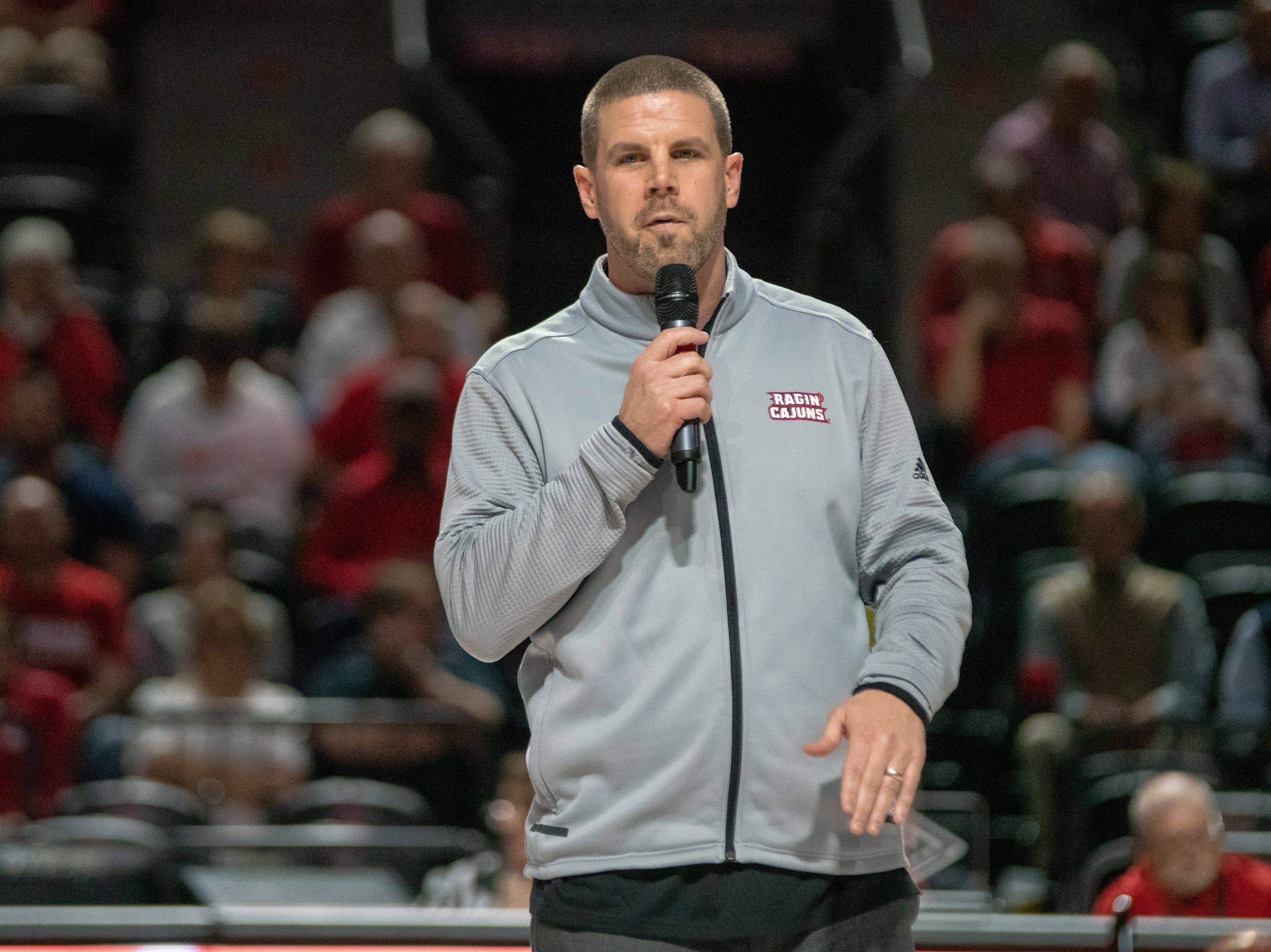 UL head football coach Billy Napier addresses the crowd at half-time as the Ragin' Cajuns take on the Georgia Southern Eagles at the Cajundome on Feb. 6, 2019.