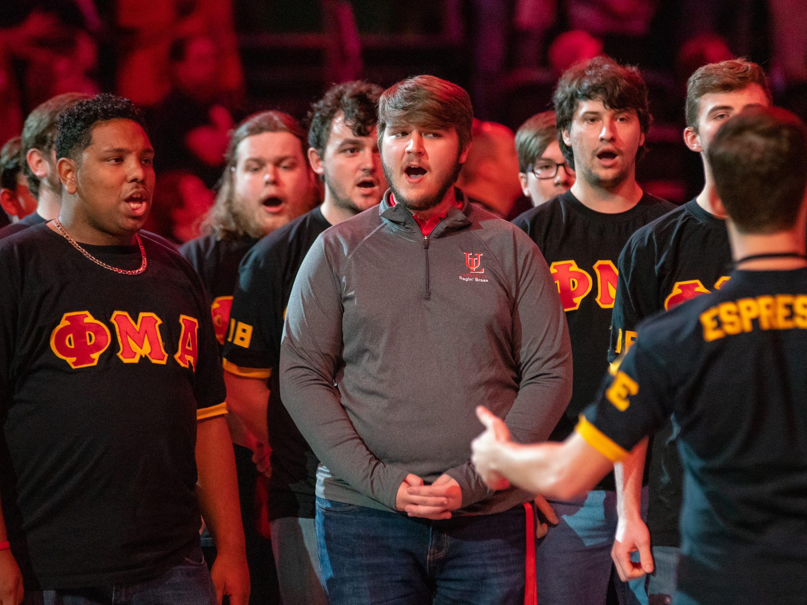 UL's Phi Mu Alpha performs before the game as the Ragin' Cajuns take on the Georgia Southern Eagles at the Cajundome on Feb. 6, 2019.