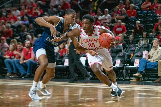 UL's Marcus Stroman drives to the goal as the Ragin' Cajuns take on the Georgia Southern Eagles at the Cajundome on Feb. 6, 2019.
