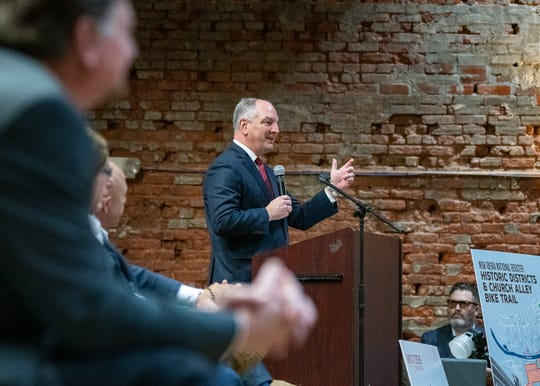 Gov. John Bel Edwards speaking at the unveiling of the Gov. Kathleen Blanco exhibit in the Doc Voorhies wing of the Bayou Teche Museum. Thursday, Feb. 7, 2019.