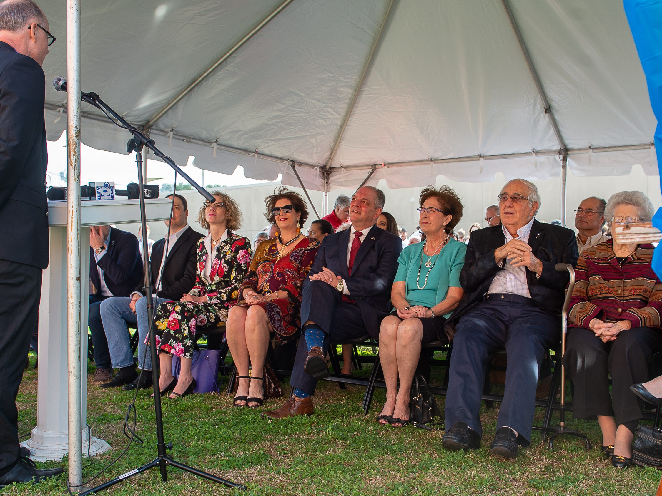 Gov. John Bel Edwards attends the groundbreaking for the George Rodrigue Park and the dedication ceremony of the Gov. Kathleen Blanco exhibit in the Doc Voorhies wing of the Bayou Teche Museum.  Thursday, Feb. 7, 2019.