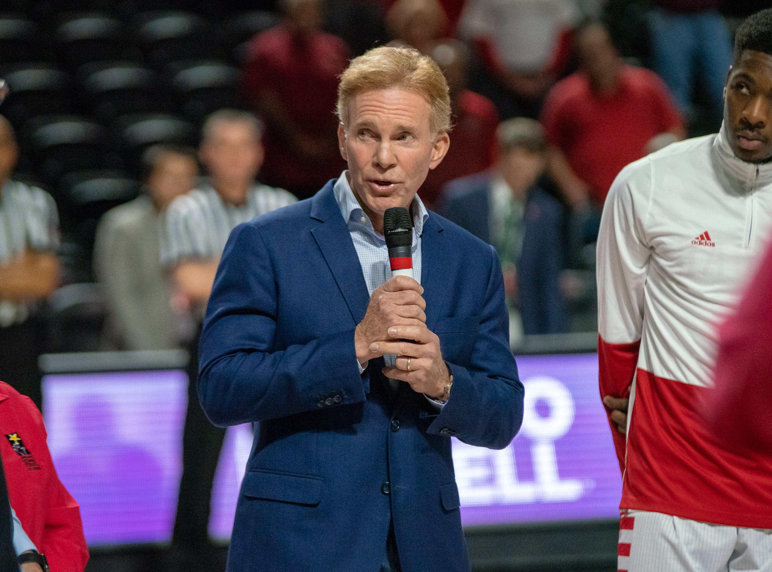 Bob Giles speaks to the crowd before the game as the Ragin' Cajuns take on the Georgia Southern Eagles at the Cajundome on Feb. 6, 2019.