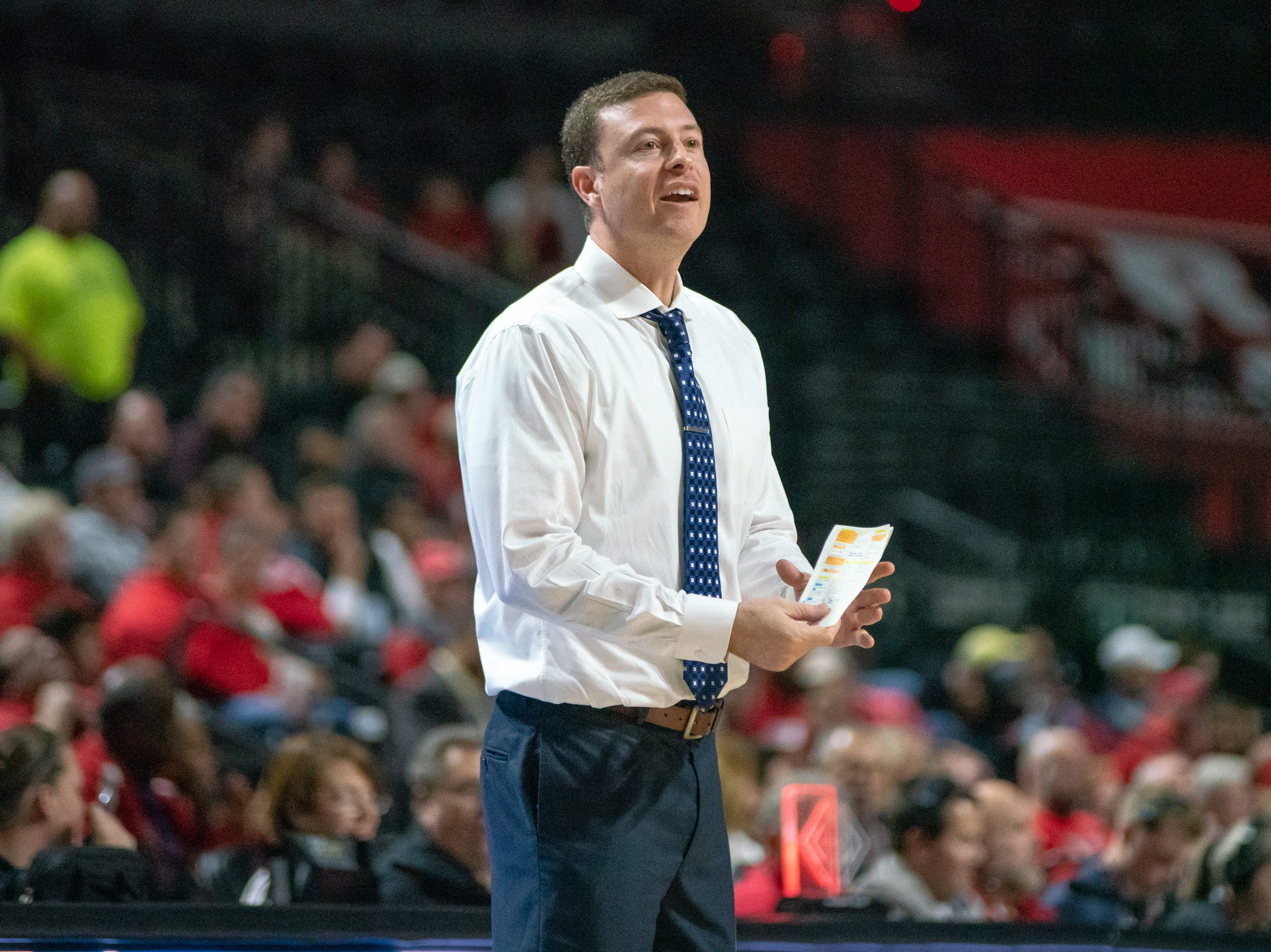 Georgia Southern head basketball coach Mark Byington communicates with his players on the court as the Ragin' Cajuns take on the Georgia Southern Eagles at the Cajundome on Feb. 6, 2019.