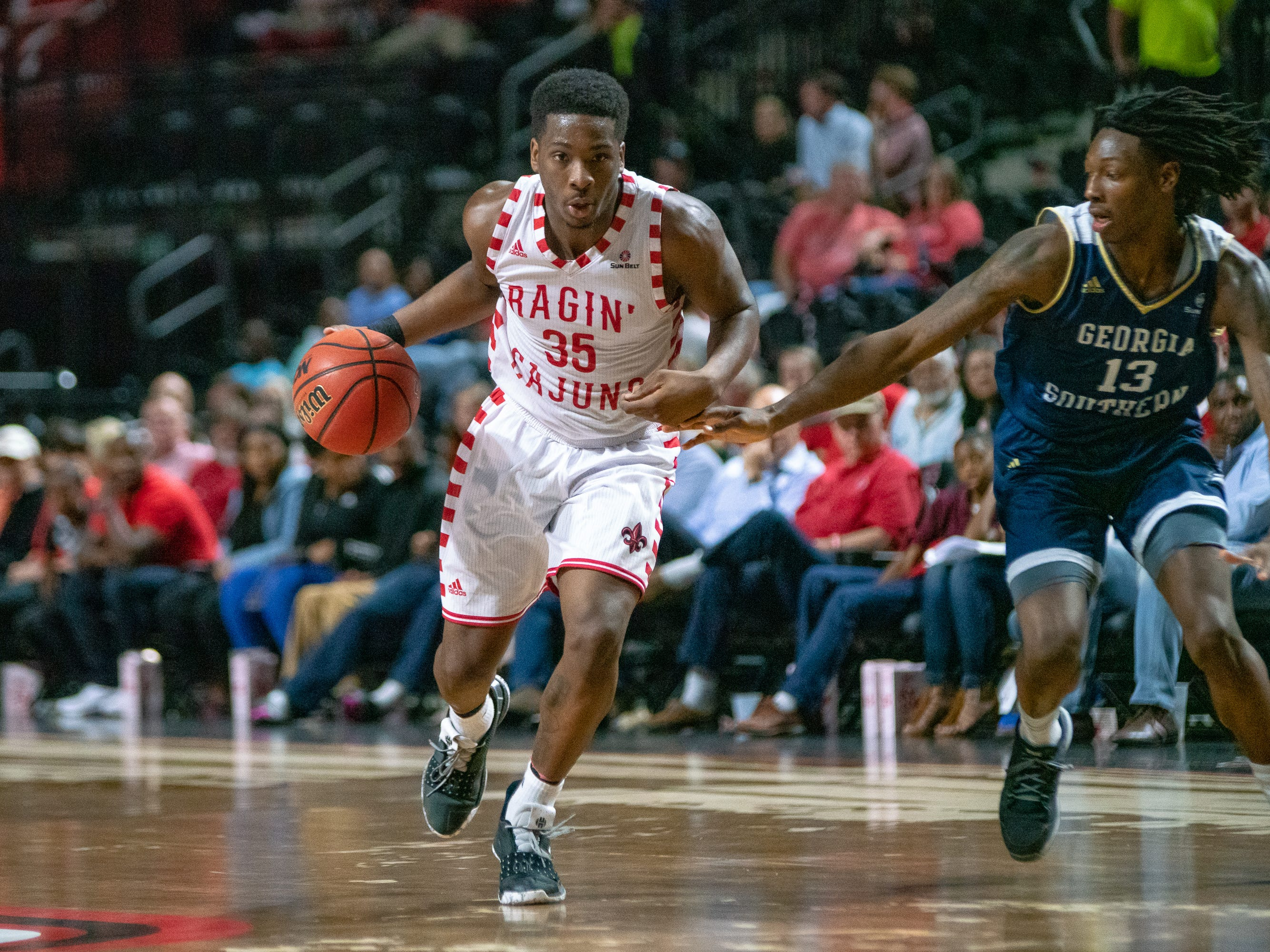 UL's Marcus Stroman drives the ball to the basket as the Ragin' Cajuns take on the Georgia Southern Eagles at the Cajundome on Feb. 6, 2019.