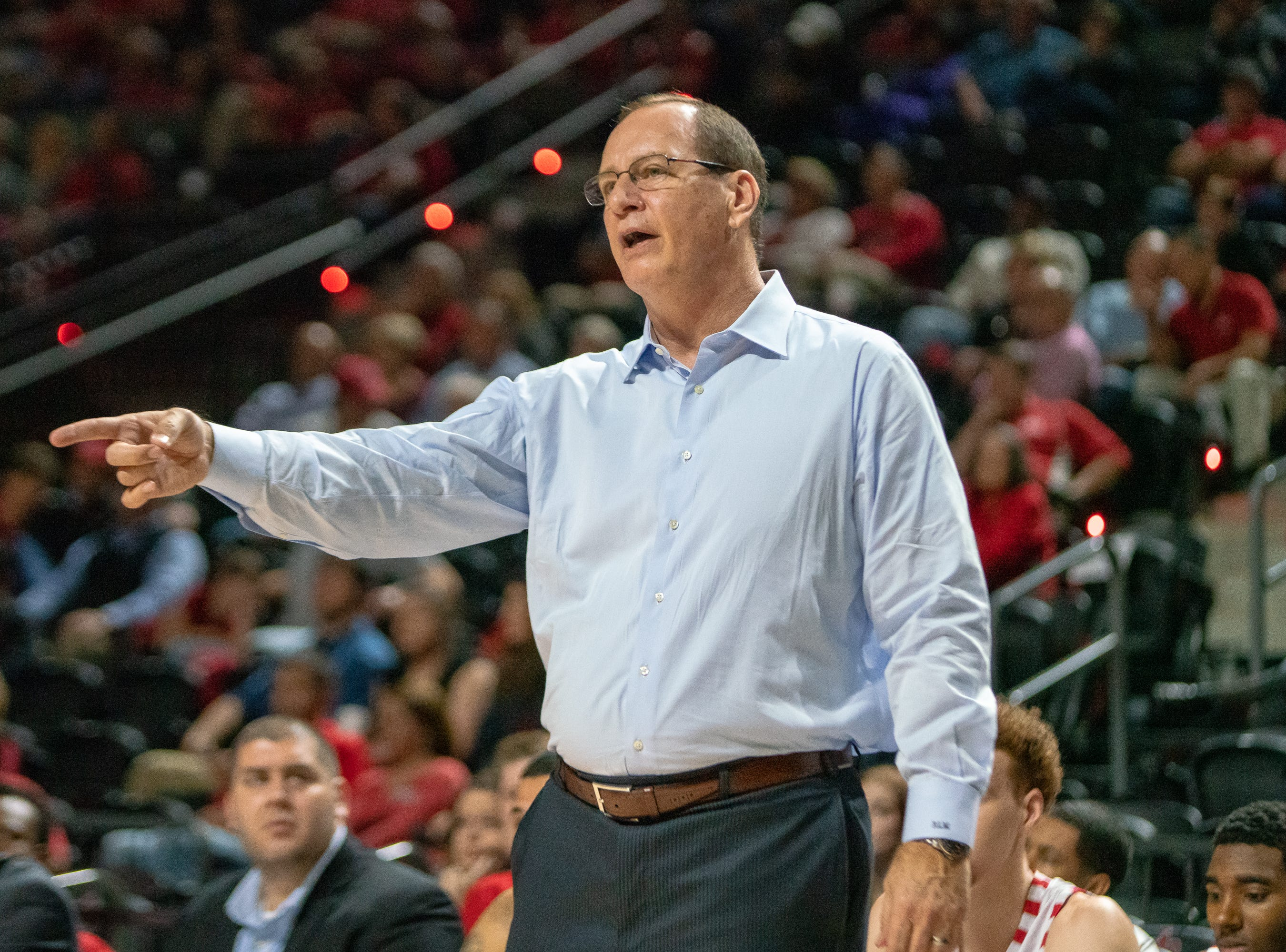 UL head basketball coach Bob Marlin directs his team on the court as the Ragin' Cajuns take on the Georgia Southern Eagles at the Cajundome on Feb. 6, 2019.