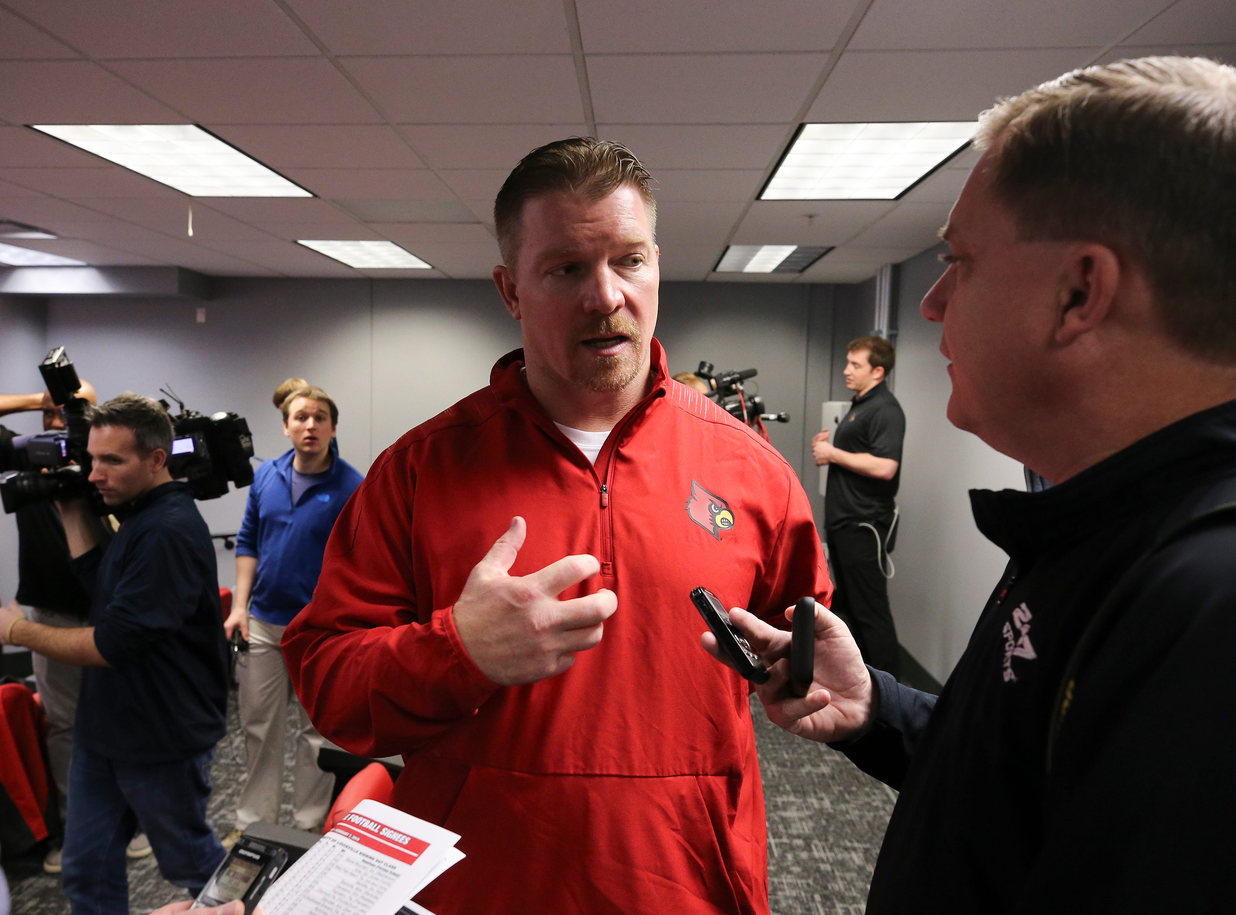 Louisville assistant coach Mark Ivey talked to the media on college football signing day.Feb. 6, 2019