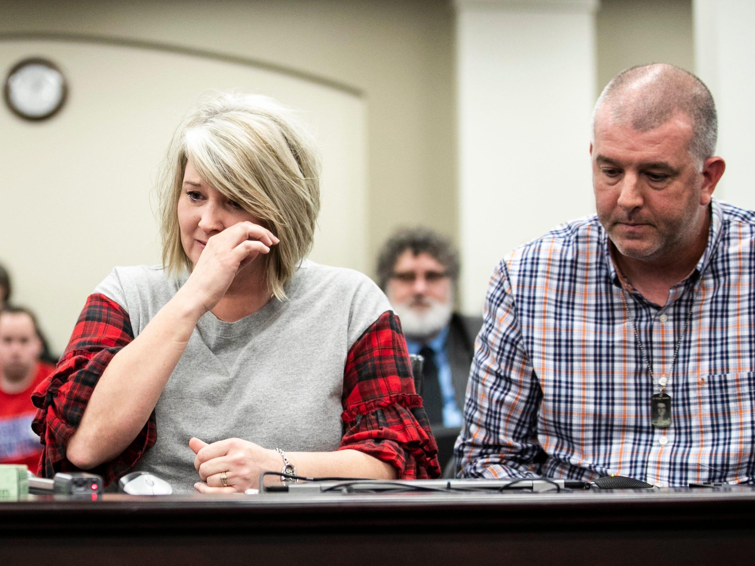 Secret Holt became emotional while urging lawmakers to pass SB 1, a school safety bill. Her daughter Bailey Holt was killed in the Marshall County High School shooting in 2018. At right is her husband and Bailey's father Jasen Holt. Feb. 7, 2019