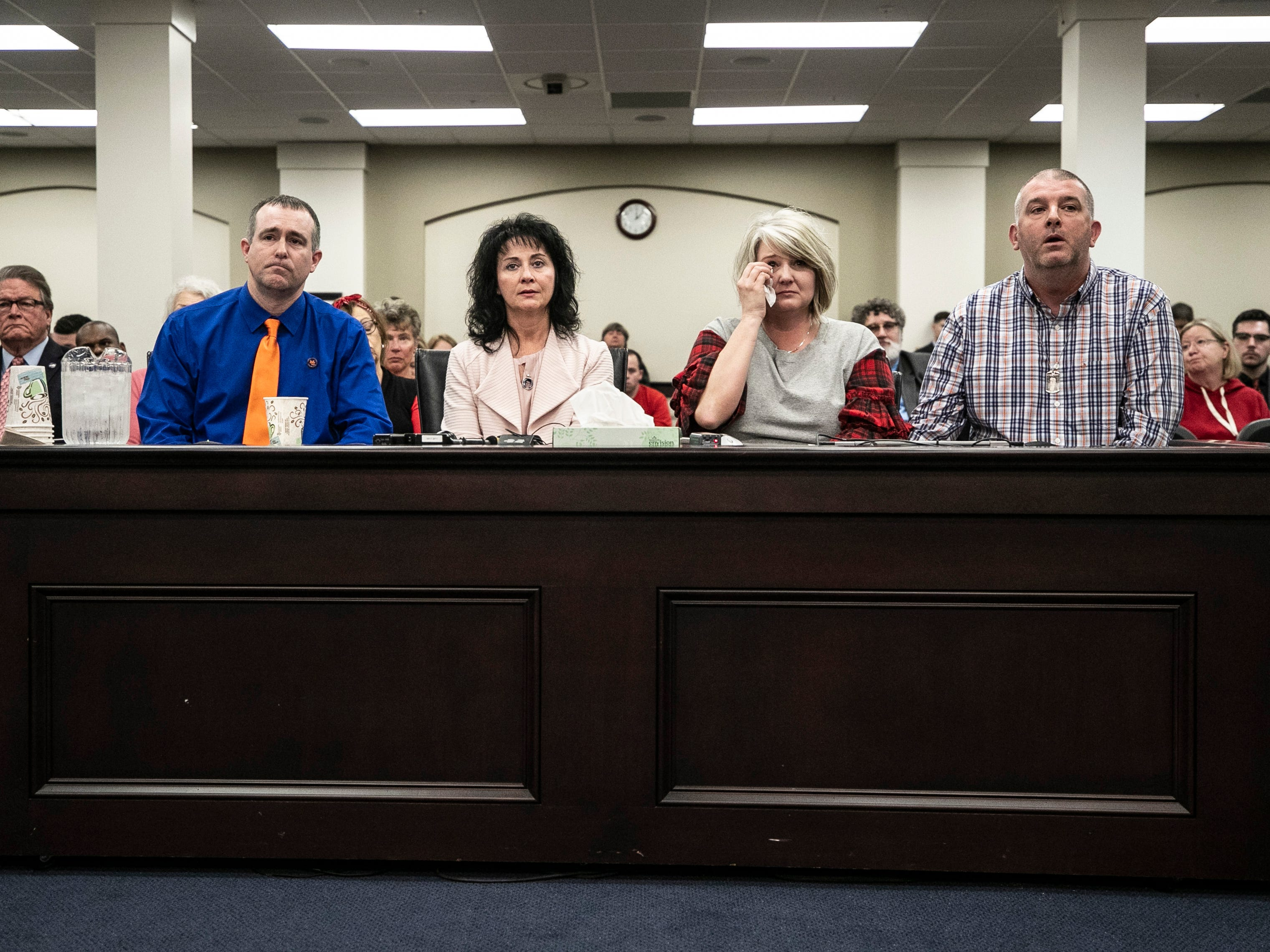 The parents of the Preston Cope and Bailey Holt testify before lawmakers in favor of SB 1, there school safety bill. From left, Brian and Theresa Cope, parents of Preston; and Secret and Jasen Holt, parents of Bailey. Feb. 7, 2019