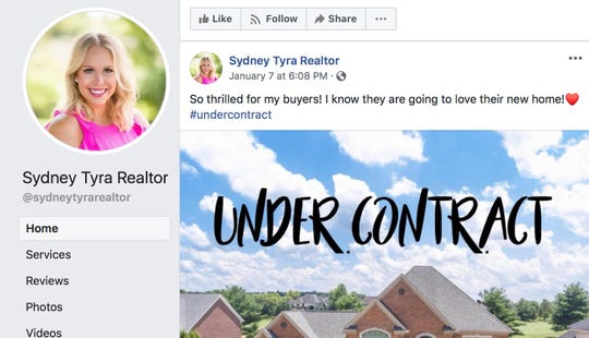 Sydney Tyra announces a house is under contract on her Facebook realtor page.