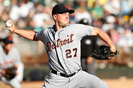 Detroit Tigers pitcher Jordan Zimmermann throws a pitch during the first inning against the Oakland Athletics at Oakland Coliseum in Aug. 2018. Zimmermann just made a donation to UWSP of $500,000.
