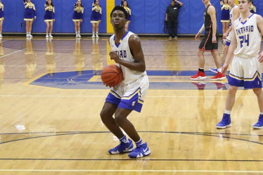 Ontario's Shaquan Coburn lines up a free throw during the Warriors win over Shelby last week.