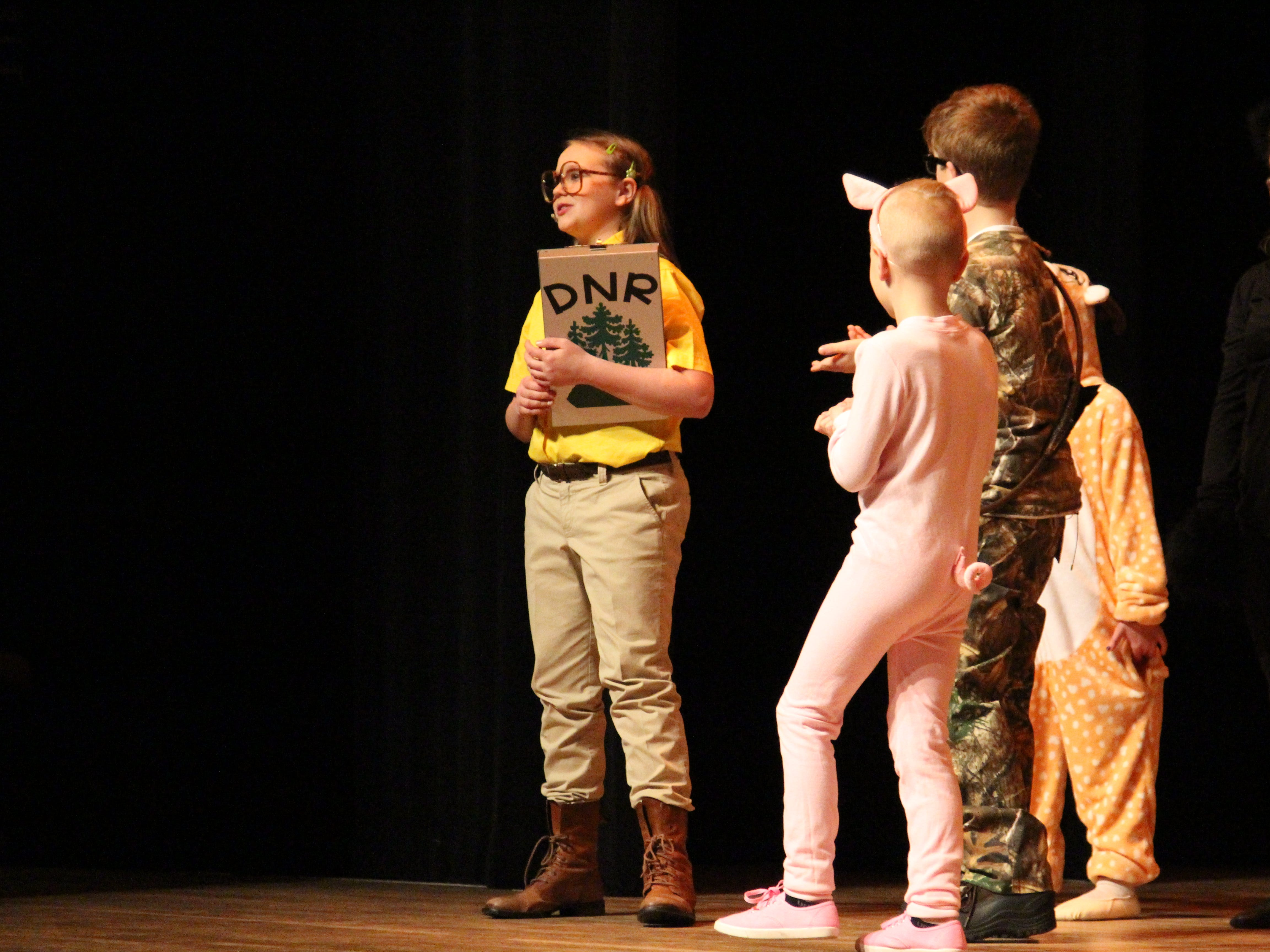 """In a moment of comedic relief, a Department of Natural Resources official stops the Huntsman from killing a pig in the forest, saying that the forest is protected land, in the Marion Palace Theatre's production of """"The Tale of Snow White."""" It plays at 7:30 p.m. Friday and Saturday, Feb. 8 and 9 and at  2 p.m. Sunday, Feb. 10."""