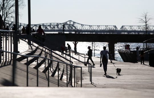 People walk along the Mississippi River at Tom Lee Park on a warm Sunday afternoon on Feb. 3.