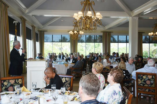 Realtors' president Steve Josselyn calls the meeting to order. The Marco Island Area Association of Realtors' general membership lunch at the Hideaway Beach Club on February 5 featured remarks from Interim City Manager David Harden and City Council Chairman Erik Brechnitz.