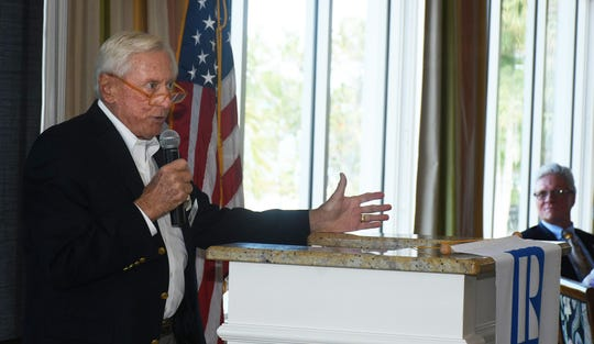 City Council Chairman Erik Brechnitz addresses the group.The Marco Island Area Association of Realtors' general membership lunch at the Hideaway Beach Club on February 5 featured remarks from Interim City Manager David Harden and Brechnitz.
