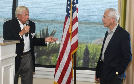 Brechnitz, left, and Harden take questions from attendees. The Marco Island Area Association of Realtors' general membership lunch at the Hideaway Beach Club on February 5 featured remarks from Interim City Manager David Harden and City Council Chairman Erik Brechnitz.