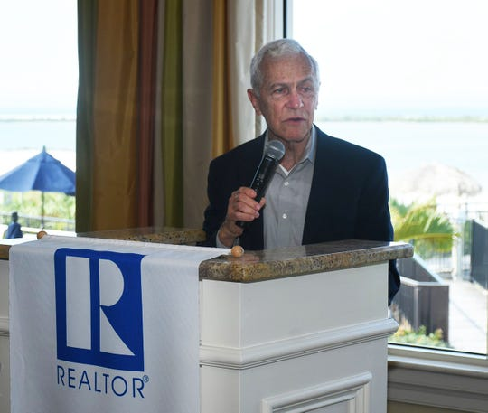 Harden speaks to the group. The Marco Island Area Association of Realtors' general membership lunch at the Hideaway Beach Club on February 5 featured remarks from Interim City Manager David Harden and City Council Chairman Erik Brechnitz.