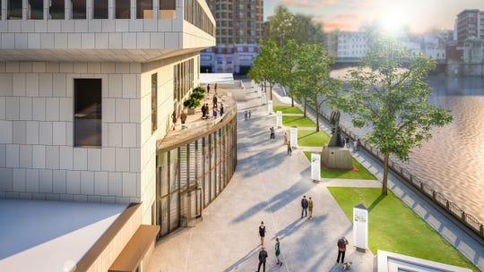 Marcus Center renovationsincludea new atrium and terrace overlookingthe Milwaukee River.