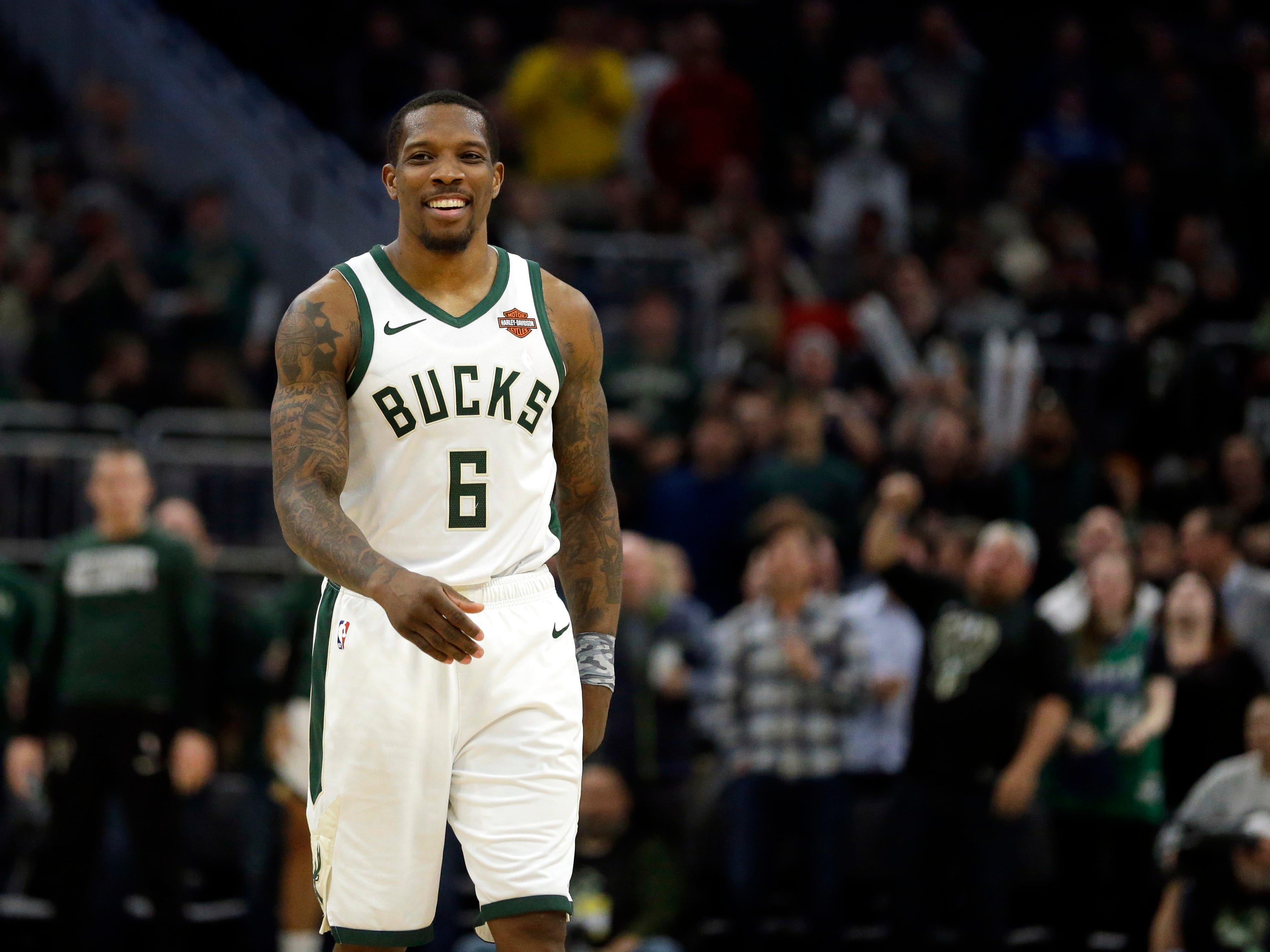 Eric Bledsoe had plenty to smile about during the Bucks' victory over the Wizards on Wednesday night as the guard scored 22 points and handed out 11 assists.