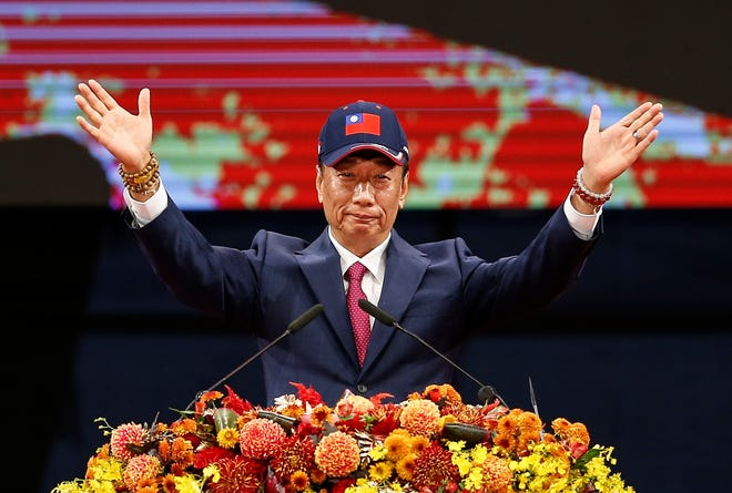 Foxconn Technology Group chairman Terry Gou, speaking at the company's Chinese New Year carnival on Feb. 2, is thinking about running for president of Taiwan.