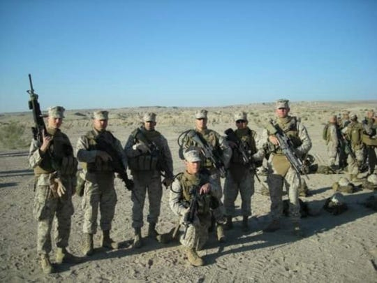 Matthew Rittner (kneeling) during training in California before deployment to Iraq in 2008.