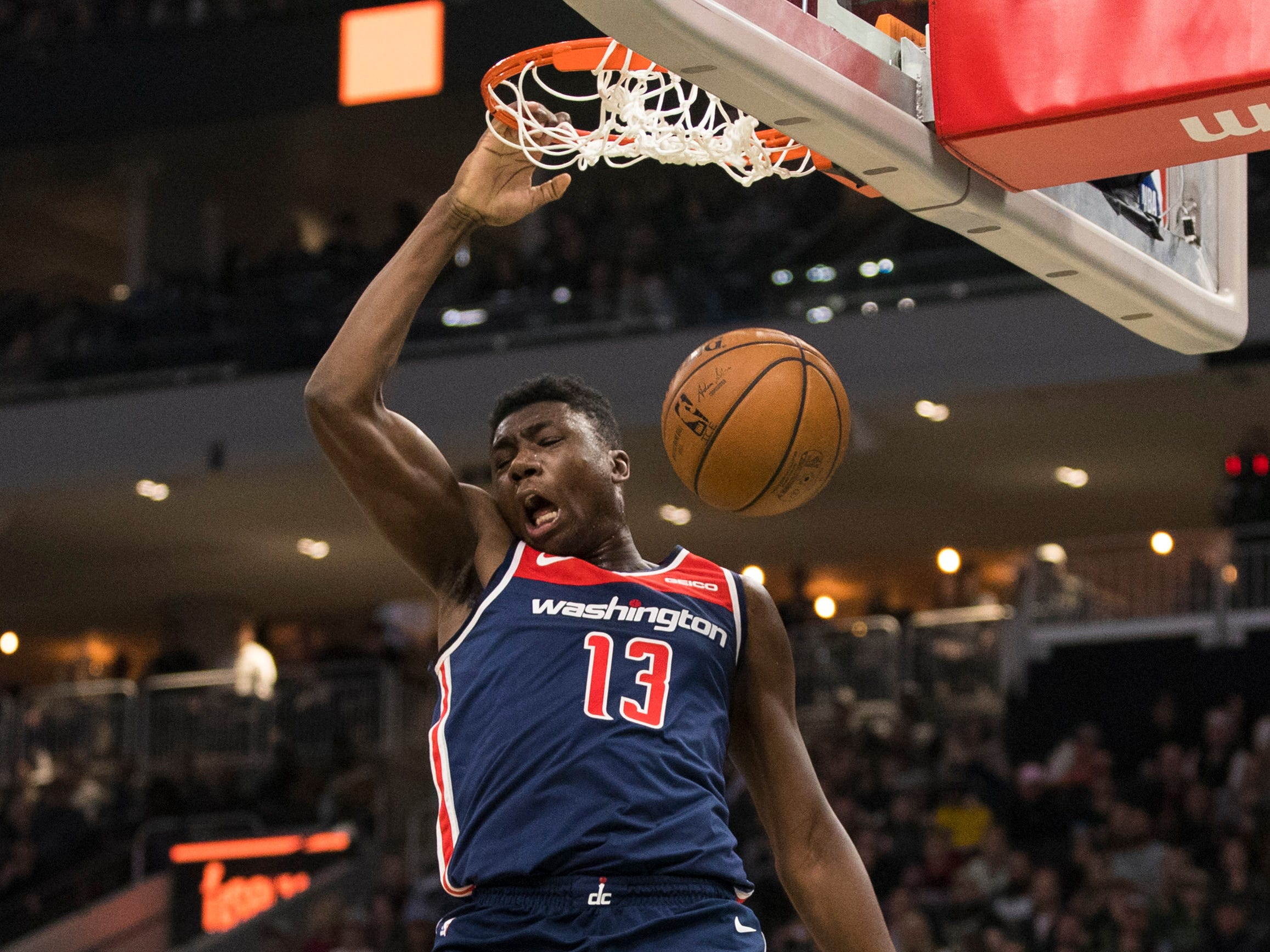 Wizards center Thomas Bryant was a load for the Bucks to handle on Wednesday night as he finished with 26 points and 14 rebounds.