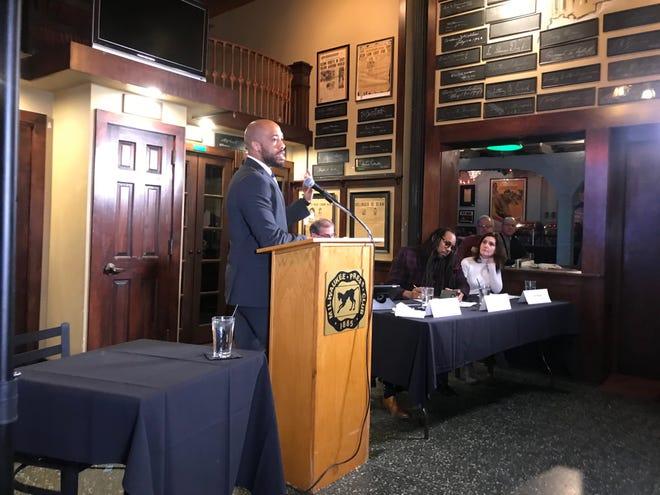 Lt. Gov. Mandela Barnes appeared Thursday at the Milwaukee Press Club.