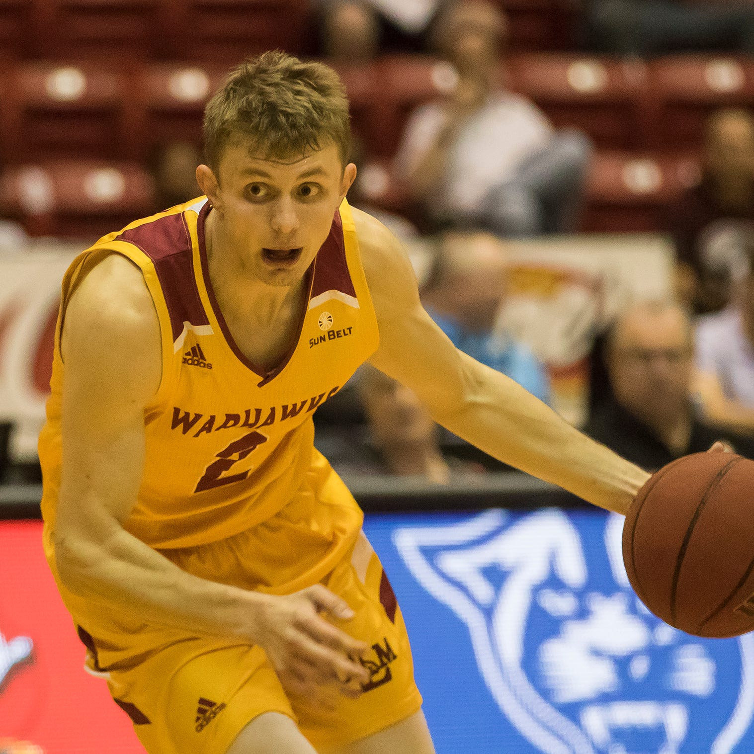 University of Louisiana at Monroe's Michael Ertel (2) makes a drive to the net during the game against Georgia State at Fant-Ewing Coliseum on Feb. 6.