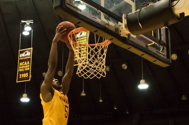 Daishon Smith (5) led ULM with 26 points and five rebounds, punctuating the win over Appalachian State with a steal and transition layup with 49 seconds remaining.