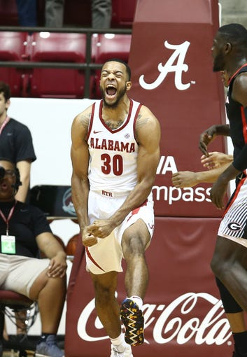 Feb 6, 2019; Tuscaloosa, AL, USA; Alabama Crimson Tide forward Galin Smith (30) reacts after a play during the first half against Georgia Bulldogs at Coleman Coliseum. Mandatory Credit: Marvin Gentry-USA TODAY Sports