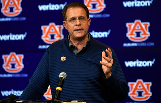 Auburn coach Gus Malzahn speaks to reporters on National Signing Day on Wednesday, Feb. 6, 2019 in Auburn, Ala.