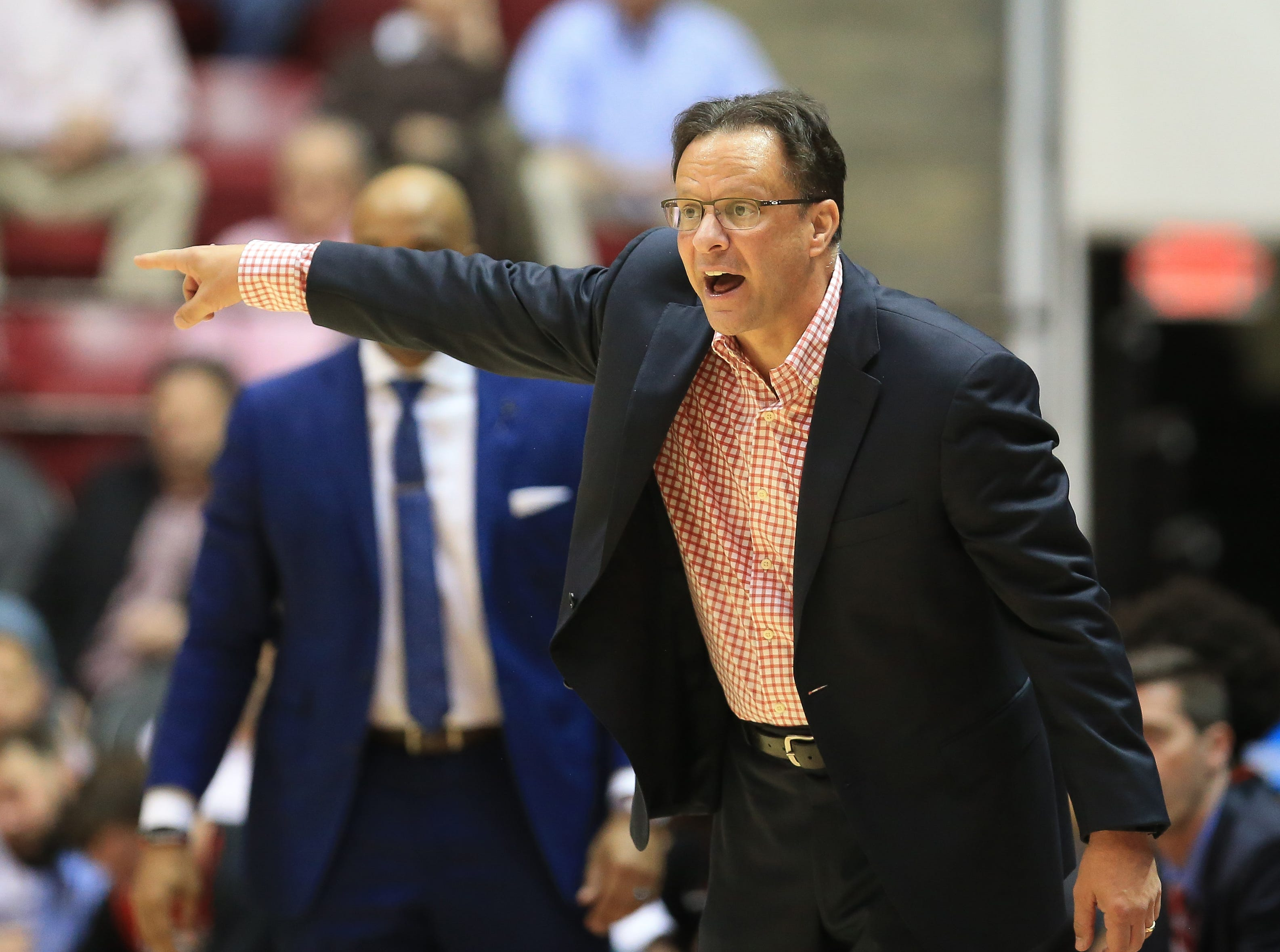 Feb 6, 2019; Tuscaloosa, AL, USA; Georgia Bulldogs head coach Tom Crean reacts to his team play during the second half against Alabama Crimson Tide at Coleman Coliseum. Mandatory Credit: Marvin Gentry-USA TODAY Sports