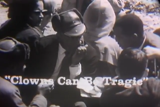 "A still from ""State of Alabama,"" a racist 1965 film that attacked civil rights demonstrators. The film depicted the Rev. Martin Luther King Jr. in racist caricatures and ran captions calling him a ""clown."""