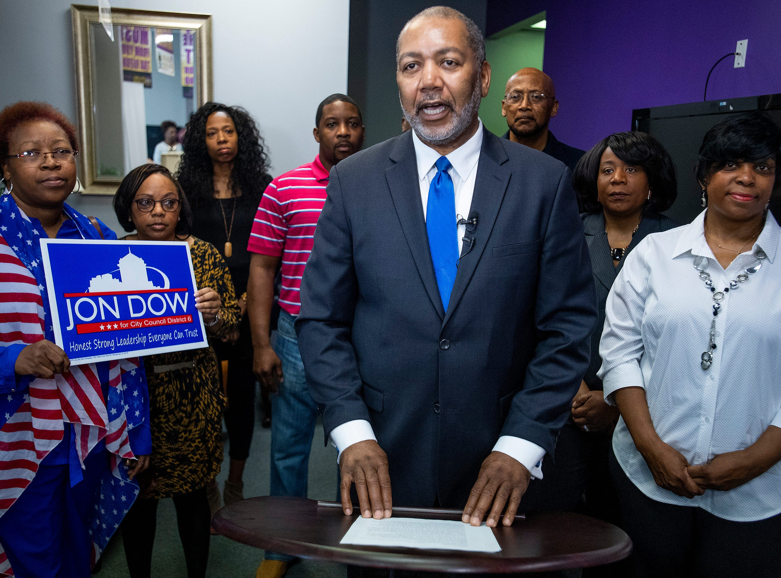 Jon Dow, backers by supporters, announces that he is running to take back his city council seat in Montgomery, Ala., on Thursday February 7, 2019.