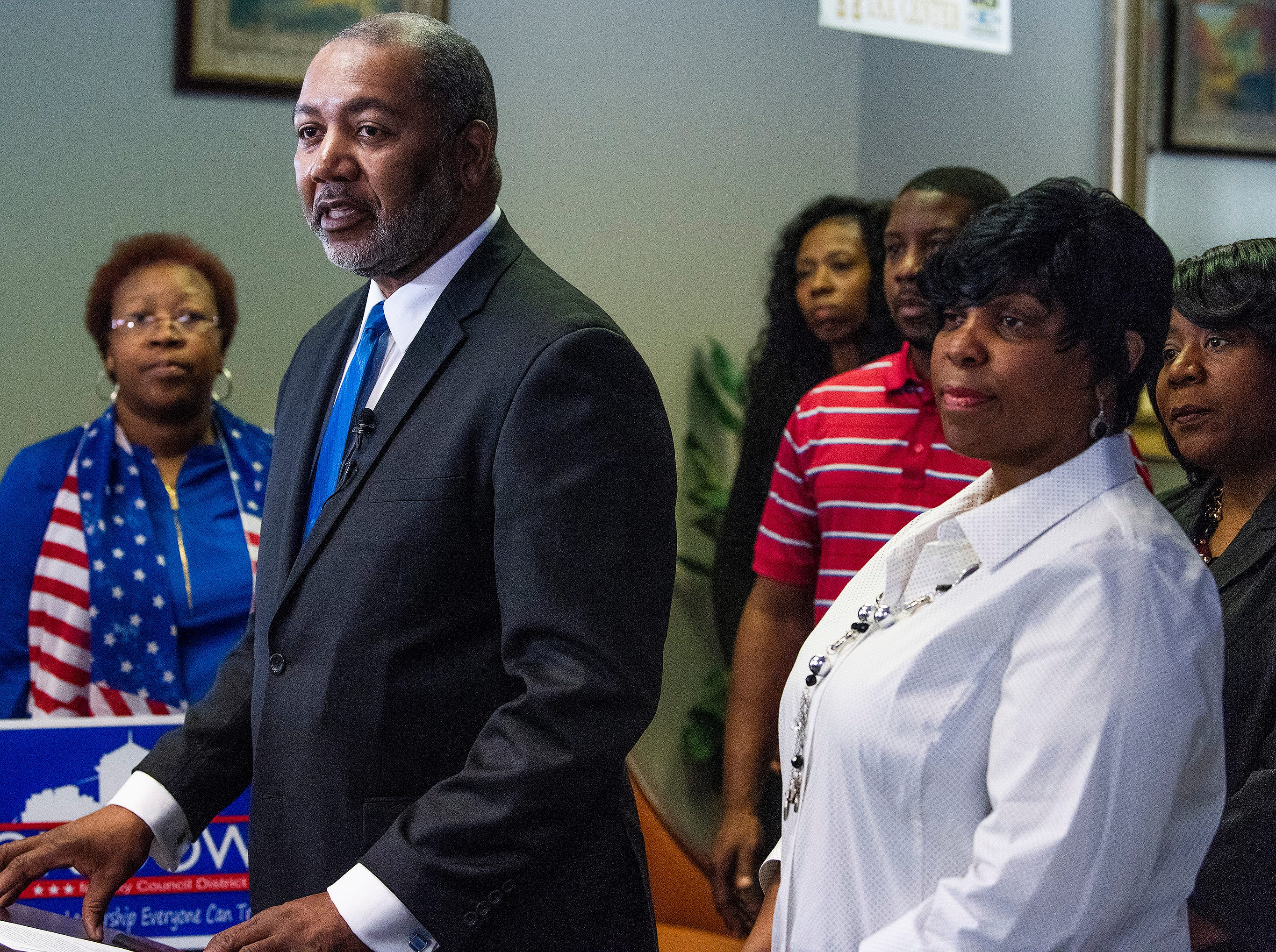 Jon Dow, backed by supporters, announces that he is running to take back his city council seat in Montgomery, Ala., on Thursday February 7, 2019.