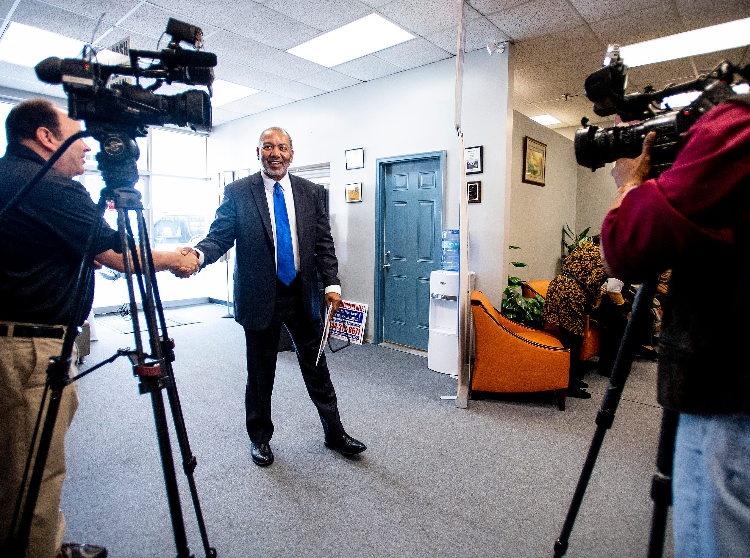 Jon Dow arrives for a press conference where he announces that he is running to take back his city council seat in Montgomery, Ala., on Thursday February 7, 2019.